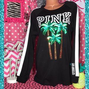 Pink victoria's Secret Bling LA palm tree Tee🌴
